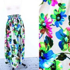 Vtg 60s Hawaiian Floral Beige Maxi Skirt Cover Up